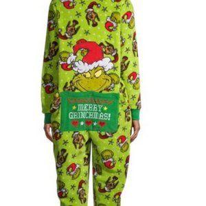 NWT S 4 6 GRINCH drop seat sleeper pajamas holiday